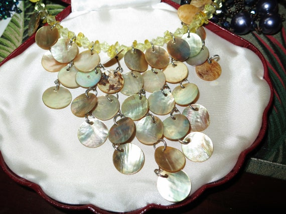 Wonderful vintage 70s multi strand golden mother of pearl   necklace