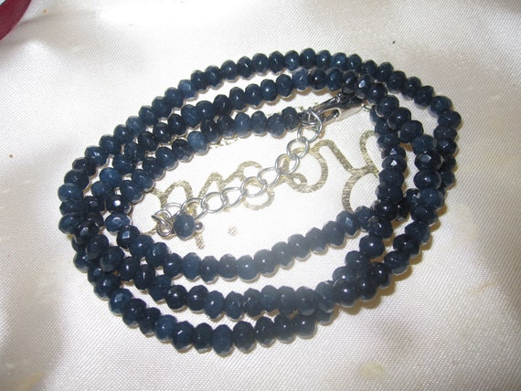 """Lovely sparkly faceted 4 mm dark blue Kyanite necklace   18 - 20"""""""