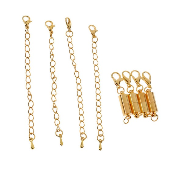 Gold plated Extender chain and magnetic clasp  For Necklace or Bracelet 9 cm length