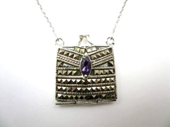 Vintage sterling silver marcasite amethyst pendant locket necklace
