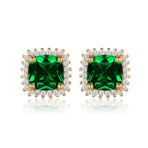 Lovely  18ct yellow gold filled green emerald crystal   earrings for pierced ears