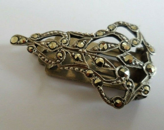 Vintage Art Deco silver and marcasite dress clip. Marked 'SIL' for silver