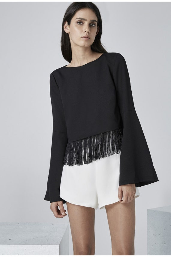 BNWT Finders Keepers black fringe fully lined bell sleeve top size S