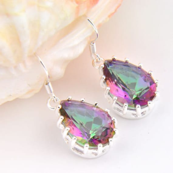Lovely 18 ct white gold plated mystic pink topaz  sapphire crystal drop earrings