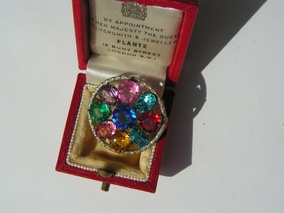 Beautiful vintage Edwardian multi coloured  glass brooch