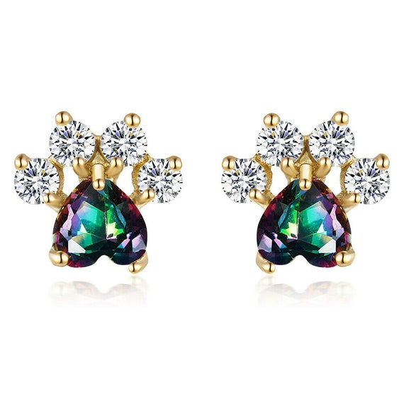 Lovely 18ct  yellow gold filled green rainbow crystal glass cat or dog paw footprint stud earrings