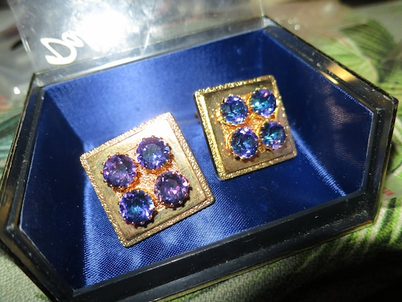 Vintage goldtone DAKO mens cuff links faceted blue purple art rivoli glass stones