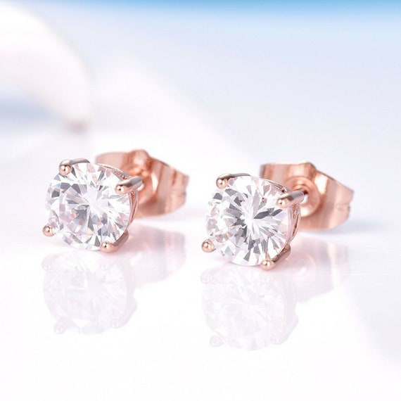 Lovely 18 ct rose gold filled clear crystal stud earrings