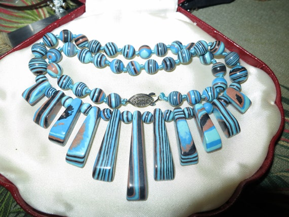 Lovely  Blue striped Howlite Beaded  Necklace 19 Inches