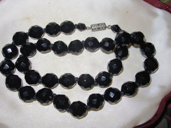 Beautiful 8mm faceted and knotted French Jet black glass necklace