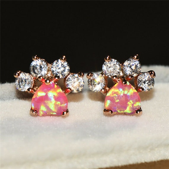 Lovely 18ct rose gold filled pink fire opal glass cat or dog paw footprint stud earrings