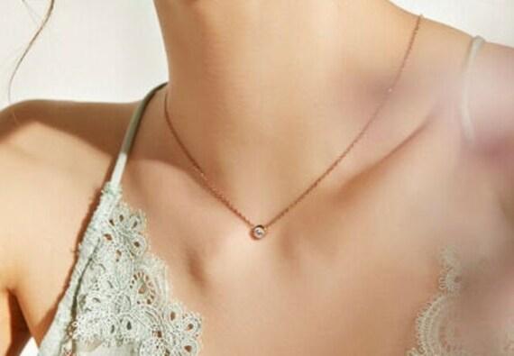 Elegant 18 ct rose gold plated  6mm diamante cubic zirconia necklace
