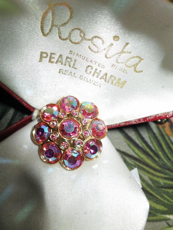 Beautiful Vintage  Goldtone, Pink Aurora Borealis Rhinestone brooch