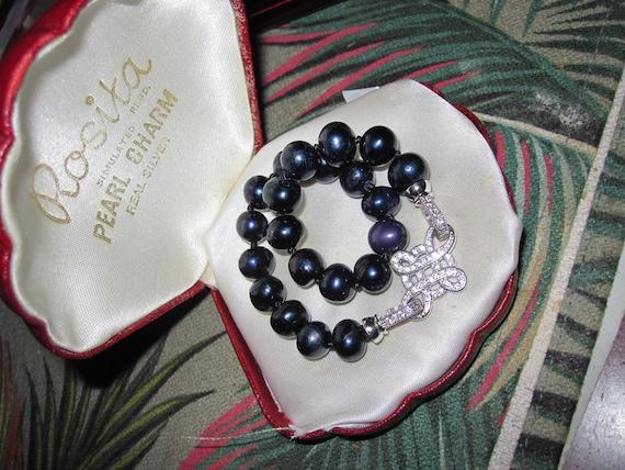 "Lovely 8 mm cultured black  freshwater pearl  bracelet rhinestone clasp 8"""