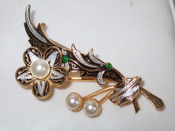 Delightful Vintage Damascene & Pearl Floral Spray Brooch