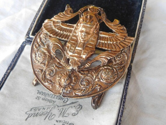Beautiful vintage decorative Egyptian revival large belt buckle