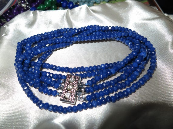 Lovely 3 strand faceted 5mm natural blue sapphire necklace 19""