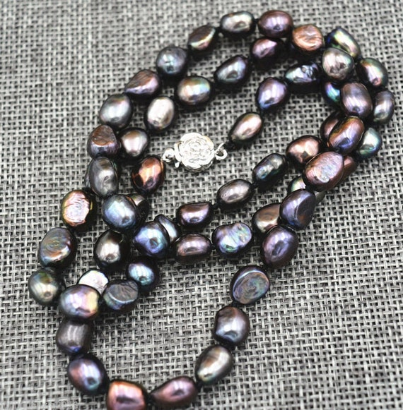 """Lovely 8mm black Freshwater Cultured Pearl Baroque Necklace 18"""""""