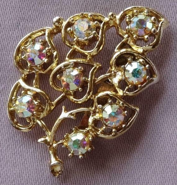 Vintage Aurora Borealis Glass Stone Leaf Spray Brooch