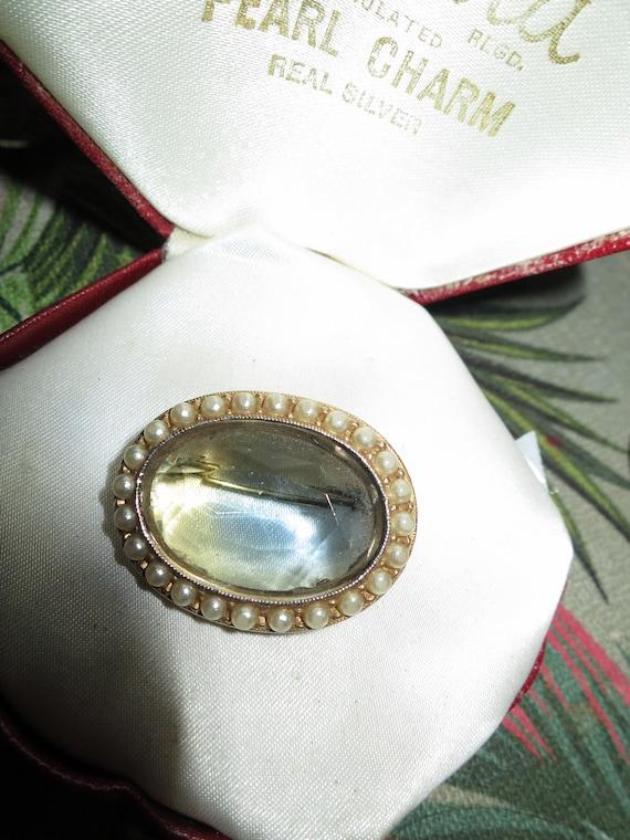 Fabulous vintage Sphinx Signed Goldtone seed Pearl Blue/Lemon Glass brooch