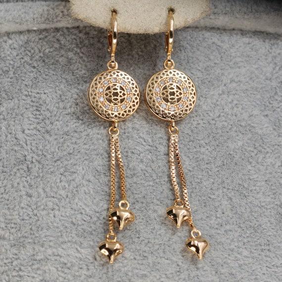 Lovely 18ct gold filled clear  glass dreamcatcher dangle earrings