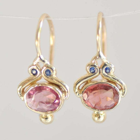 Beautiful 18 ct gold filled faceted pink and blue topaz earrings