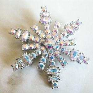 Vintage Kirks Folly Snowflake Brooch Original Box Aspen Rhinestone White Aurora Borealis