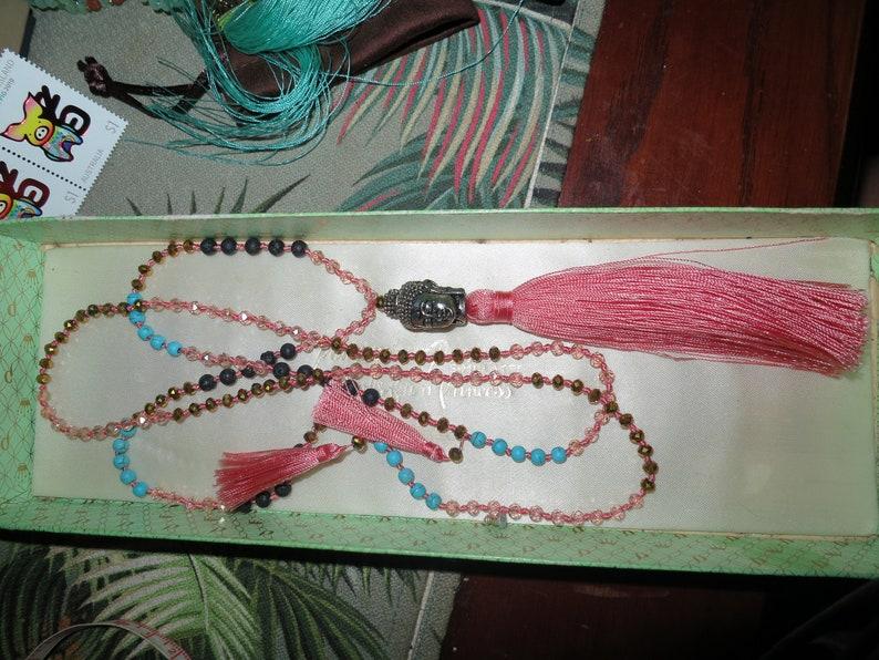 Fabulous vintage long turquoise peach glass buddha tassel pendant necklace