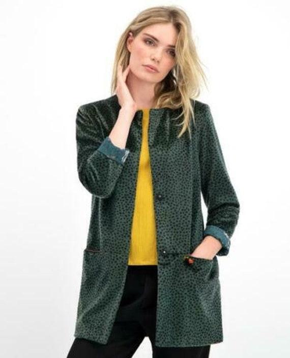 BNWT POM Amsterdam  Green Faux Fur Leopard jacket size 2 or 38 or Aus 8