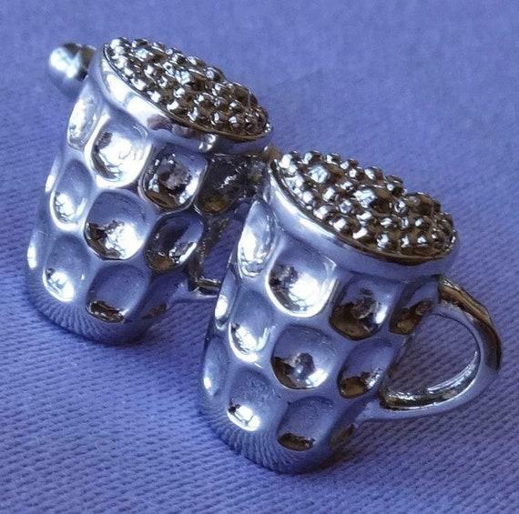 Wonderful Vintage Silvertone Metal beer pot glass design Cufflinks