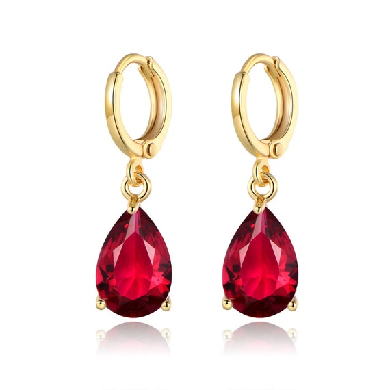 Lovely 18 ct gold filled ruby crystal drop earrings