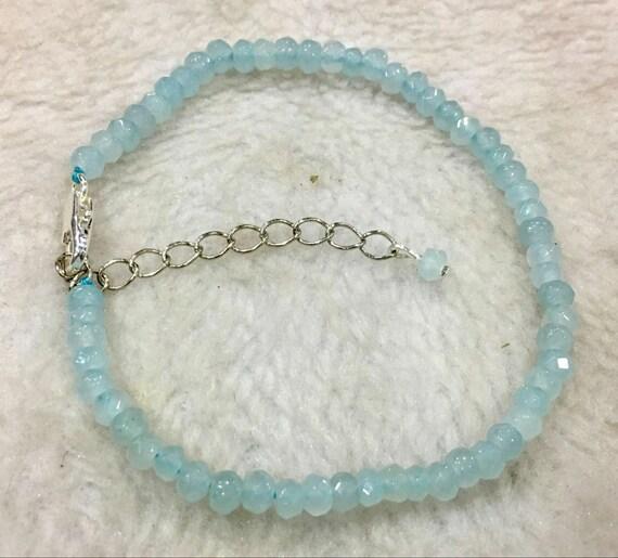 """Lovely Natural Faceted 4mm aquamarine bracelet 7.5-9"""""""