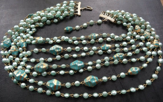 Fabulous vintage multi strand powder blue faux pearl bead necklace signed Hong Kong