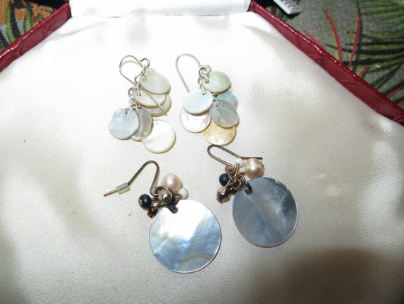 2 Lovely pairs of vintage silvertone mother of pearl dangle earrings
