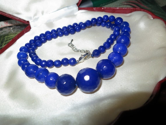 Lovely graduated faceted natural raw dark blue sapphire  knotted necklace  18-20""