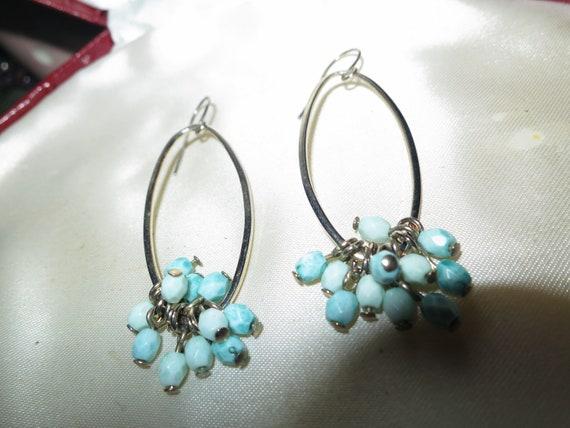 Beautiful vintage blue beaded drop hoop earrings