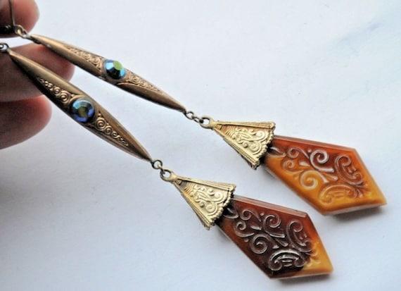Beautiful  Vintage Old Czech Earrings Jewelry Art Nouveau Ornate Caramel Glass Handmade