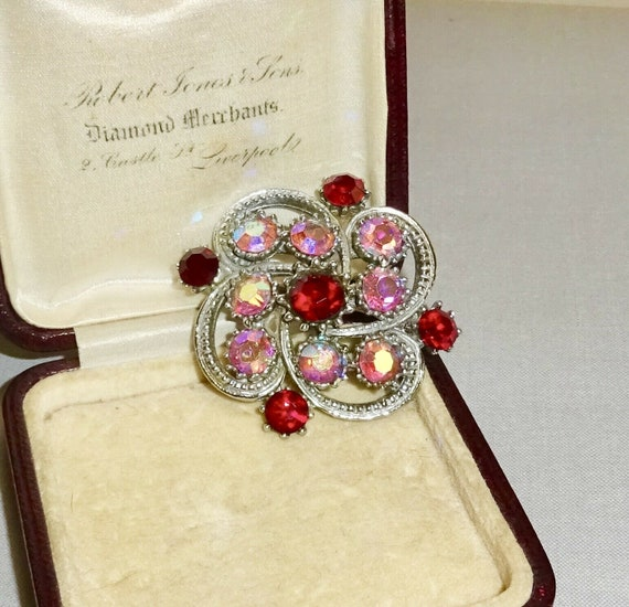 Lovely vintage silvertone pink and red AB rhinestone   brooch