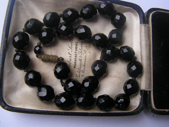 Wonderful antique Victorian highly faceted French Jet beaded hand knot necklace