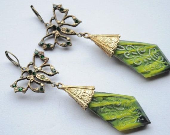 Vintage Old Czech Earrings Jewelry Art Nouveau Butterfly Jade Glass Handmade