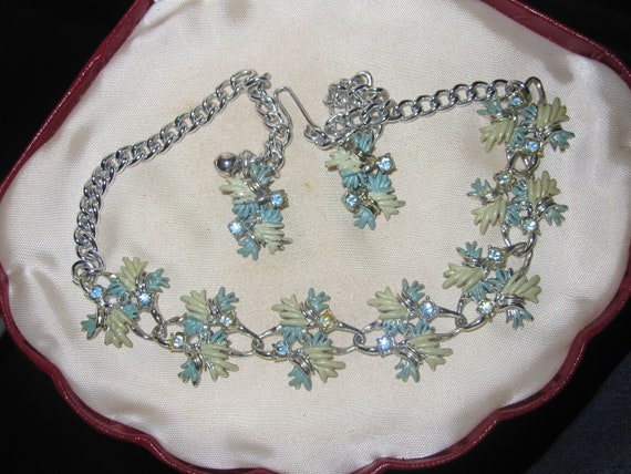 Beautiful vintage Coro style pale blue and green rhinestone necklace and clip on earrings set