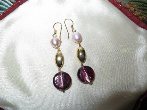 Fabulous pair of vintage genuihe pink pearl amethyst glass earrings