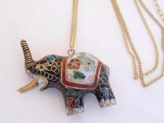 Wonderful vintage gold tone black cloisonne enamel elephant necklace