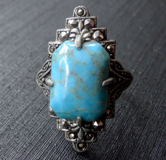 Lovely vintage art deco turquoise glass marcasite geometric silver tone dress ring