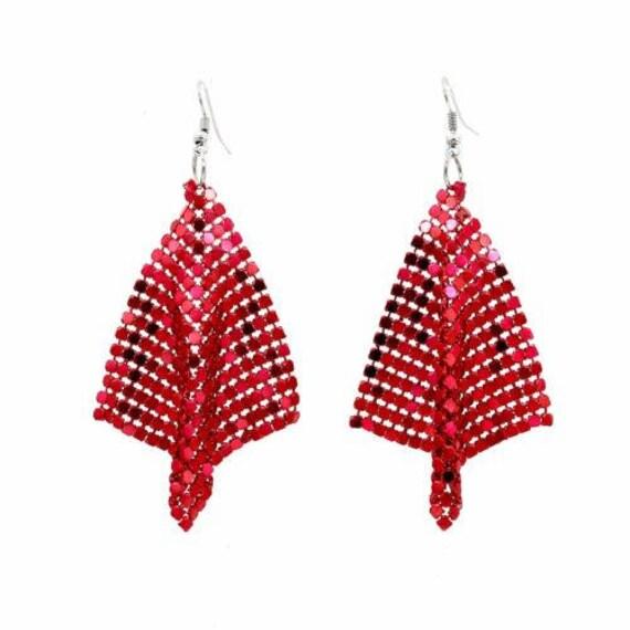 Fabulous large new metallic red mesh disco dropper earrings