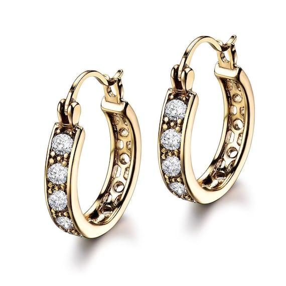 Beautiful 18 yellow gold filled diamante hoop earrings for pierced ears