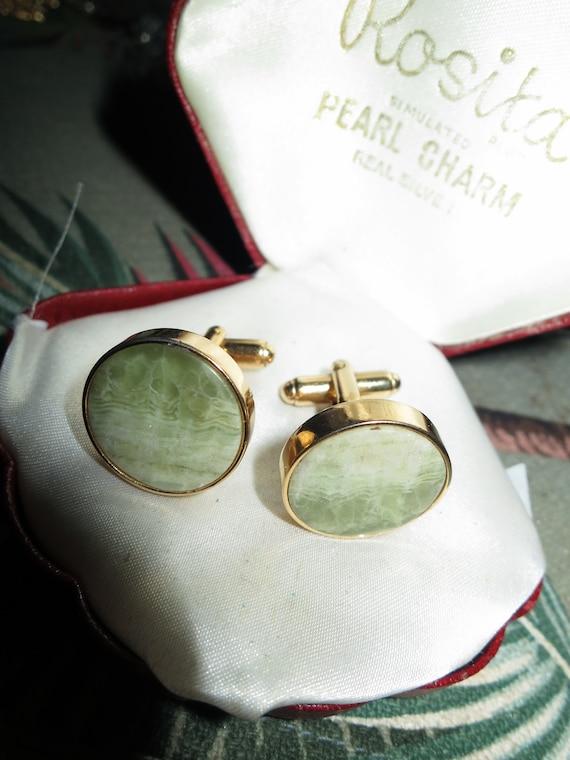 Lovely quality Vintage Scottish goldtone Connemara agate cufflinks