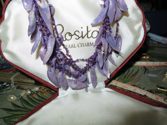 Beautiful vintage dyed real shell necklace