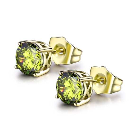 Lovely 18ct yellow gold filled green peridot sapphire crystal stud earrings August birthstone