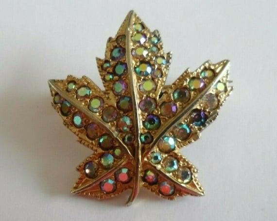 Vintage KEYES maple leaf brooch set with Aurora Borealis diamantes